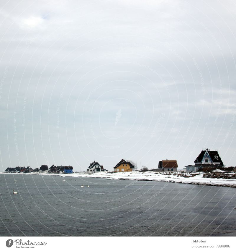 70 / beautiful living Environment Nature Landscape Elements Water Sky Horizon Winter Snow Waves Coast Lakeside Beach Bay Baltic Sea Fishing village Deserted