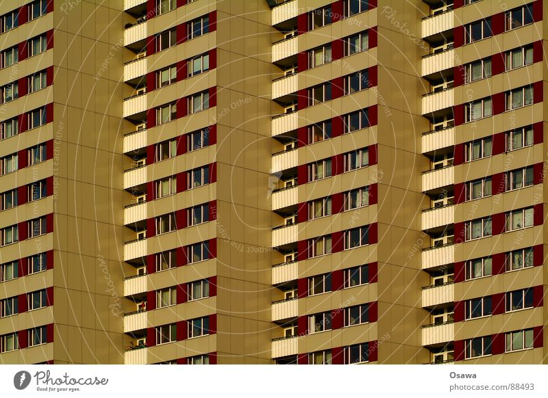 House (Residential Structure) Window Berlin Architecture Building Facade High-rise Gloomy Balcony Anger GDR Prefab construction Aggravation Grid New building
