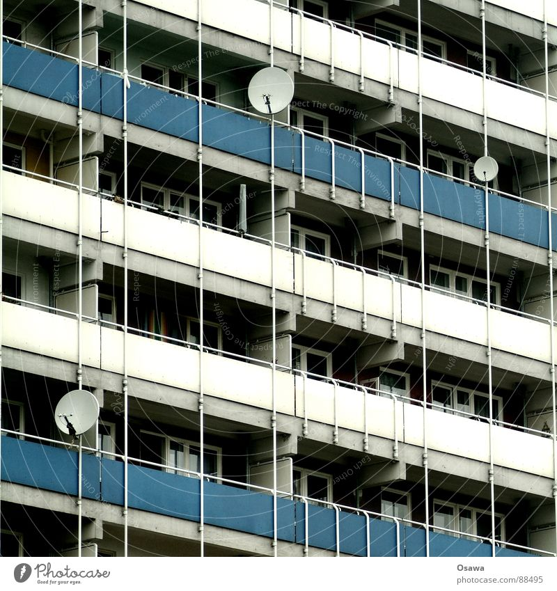 House (Residential Structure) Window Architecture Building Facade High-rise Gloomy Television Balcony GDR Prefab construction Welcome Antenna Grid New building Satellite dish