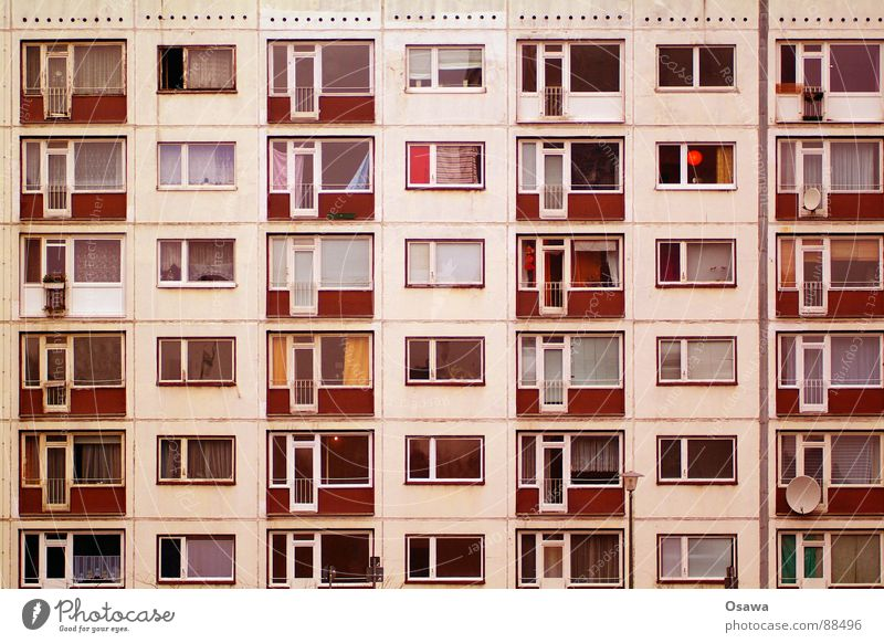 House (Residential Structure) Window Architecture Building Facade High-rise Gloomy Balcony GDR Prefab construction Grid New building