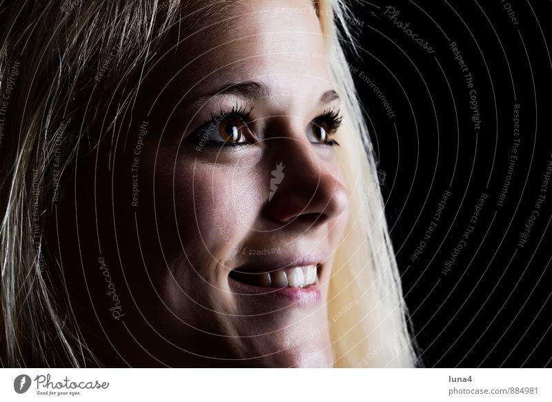 luck Joy Happy Beautiful Face Feminine Young woman Youth (Young adults) Woman Adults Blonde Long-haired Smiling Laughter Happiness Black