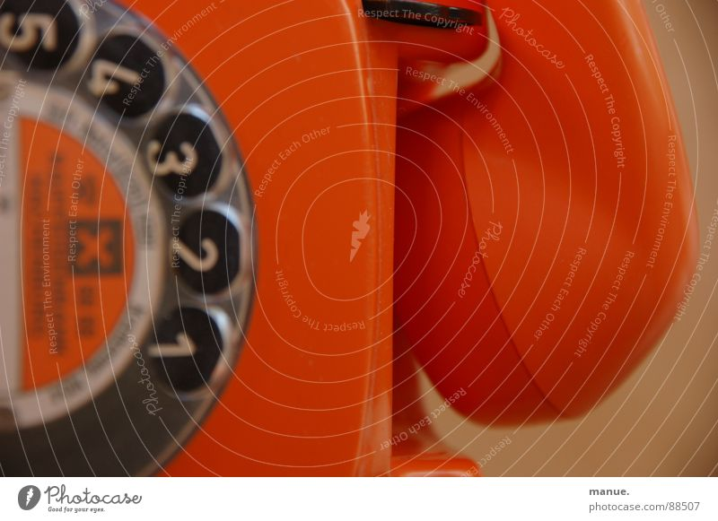 Beautiful Colour Calm Lie Orange Design Communicate Telephone Retro Past To call someone (telephone) Speech Connect Seventies Language Old fashioned
