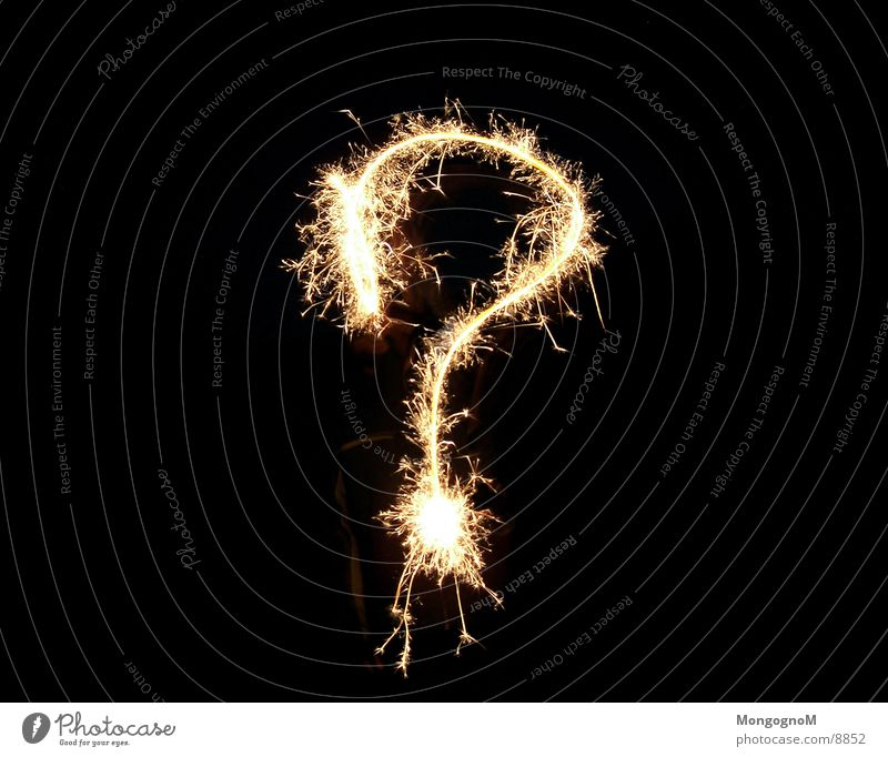 question mark Sparkler New Year's Eve Question mark Long exposure