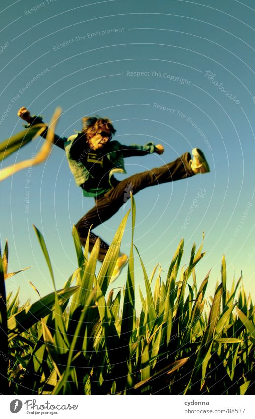 Jump into the field! IV Hop Spring Meadow Grass Green Style Sunset Posture Blade of grass Worm's-eye view Sunbeam Kick Martial arts Man Fellow Field Straddle