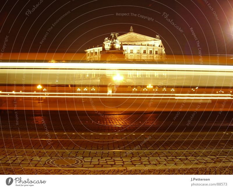 crossed paths Semper Opera Tram Dresden Night Light Speed Dark Historic Night life Time Snapshot Break Long exposure Exterior shot Architecture Landmark
