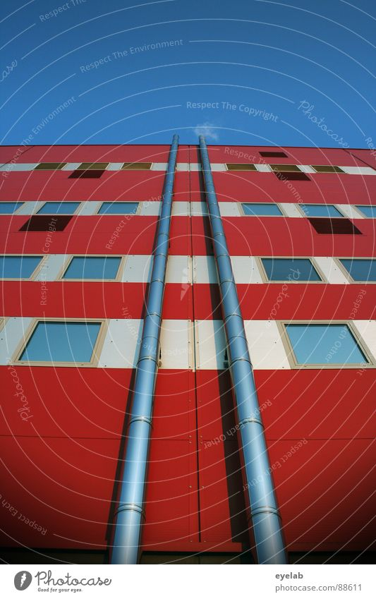 Symmetrically refined exhaust air White Red Window Building House (Residential Structure) Office building Administration building High-rise Stripe