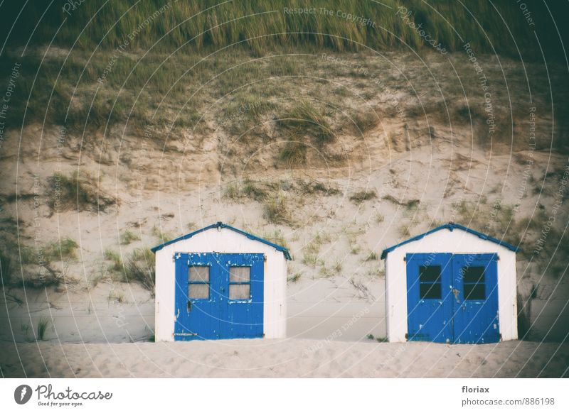strand memories Vacation & Travel Together Island beach cottage Hut Blue Ocean Relaxation Nature Beach dune Grass Small Memory Tracks Eerie Dark Threat