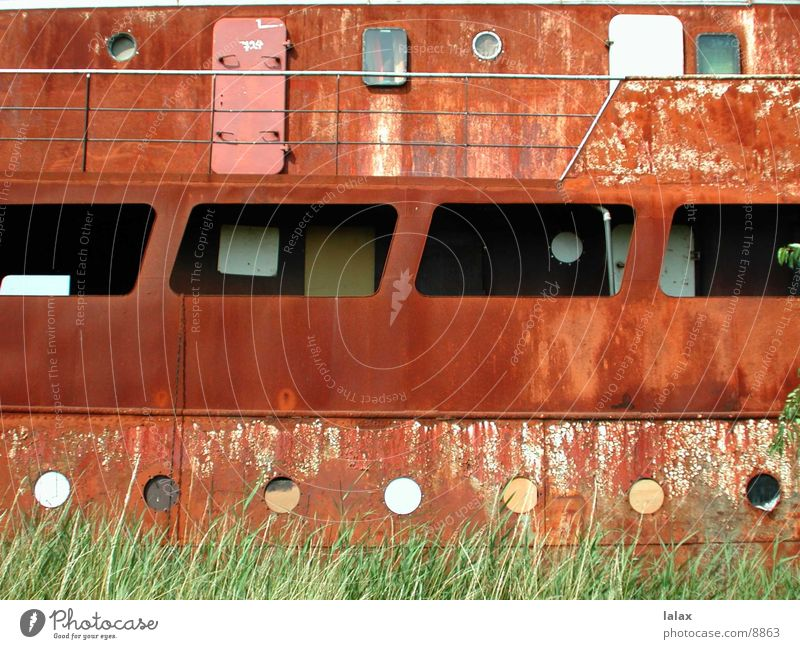 abandoned boat Watercraft Window Things Loneliness Rust