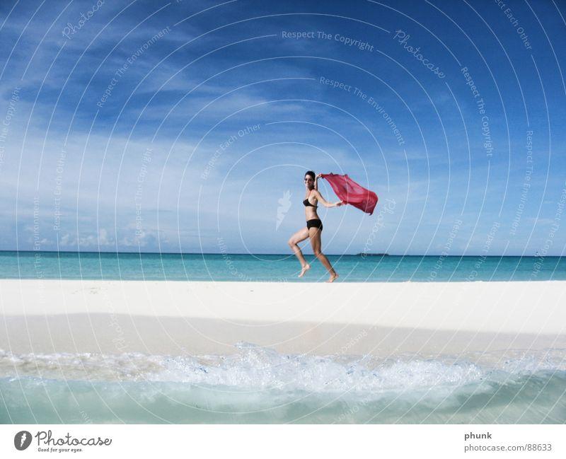 Woman Water Beautiful Vacation & Travel Sun Ocean Joy Beach Jump Bright Weather Walking Romance Clarity Bikini India