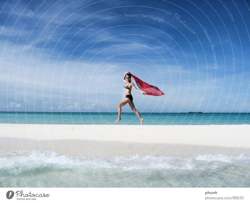 beach run#3 Beach Ocean Vacation & Travel Woman Jump Hop Bikini Maldives India Beautiful Navigation Healthy Sun Walking Joy Water Weather Clarity Bright Summer
