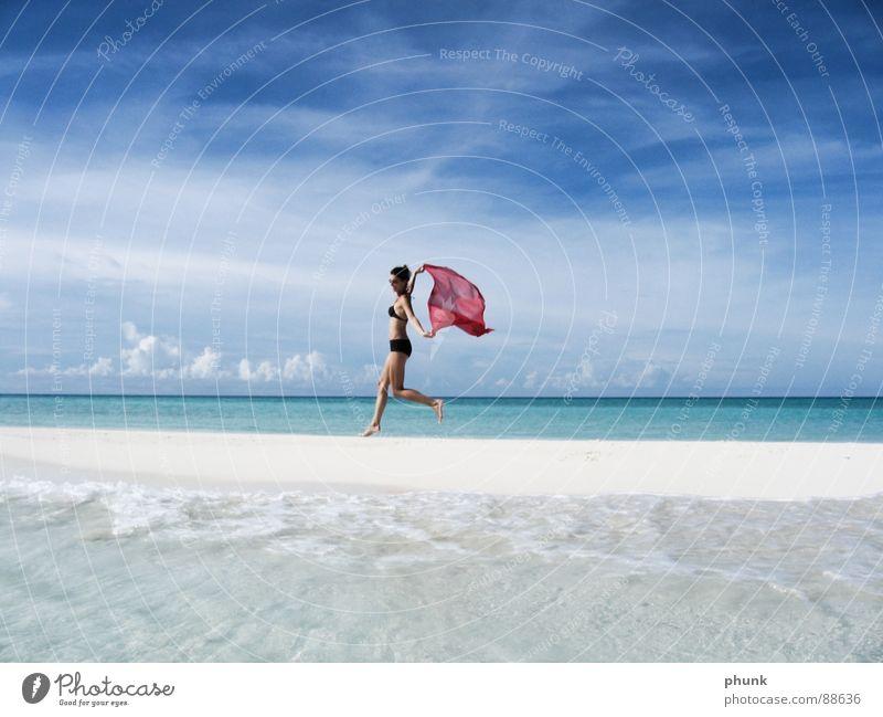 beach run#4 Beach Ocean Vacation & Travel Woman Jump Hop Bikini Maldives India Beautiful Airport Joy Sun Walking Water Weather Clarity Bright Romance