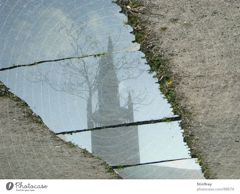 180° mirrored Tree Reflection Clouds Shard Broken House of worship Religion and faith Tower Sand Tile Berlin corrupted