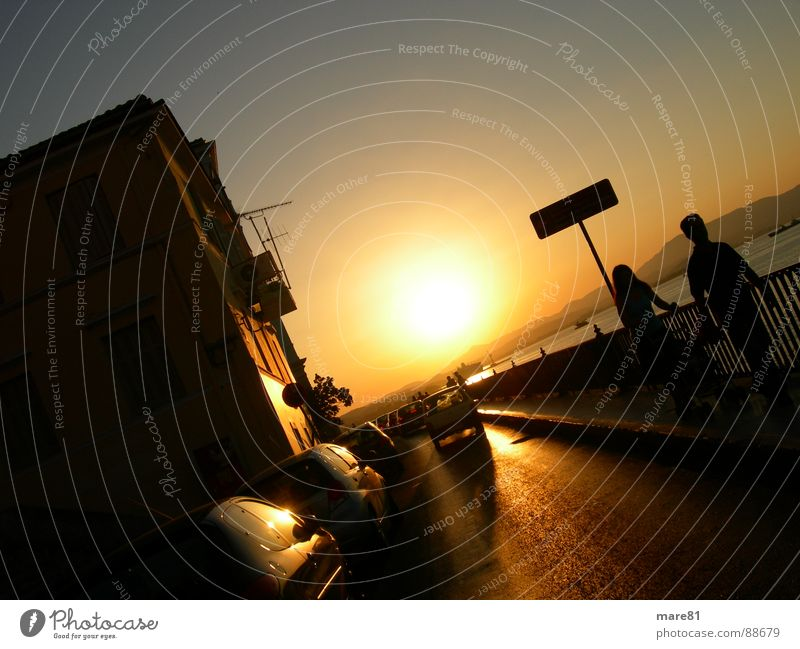 sunset corfu Evening sun Sunset Ocean House (Residential Structure) Celestial bodies and the universe Street Car Human being Bridge