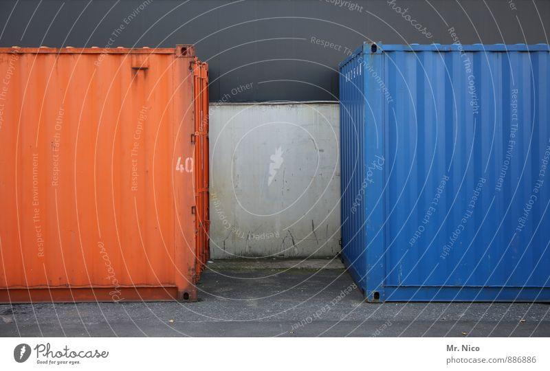 The duel | UT Cologne Workplace Blue Orange Container Logistics Opposite Gap 40 Technology Transport Metal Steel Abstract Industrial site Harbour Shipping