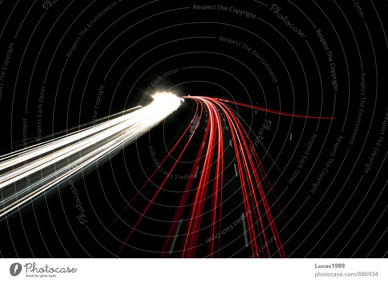 White Red Black Street Car Transport Driving Vehicle Highway Passenger traffic Motoring Road traffic Means of transport Tracer path Rush hour
