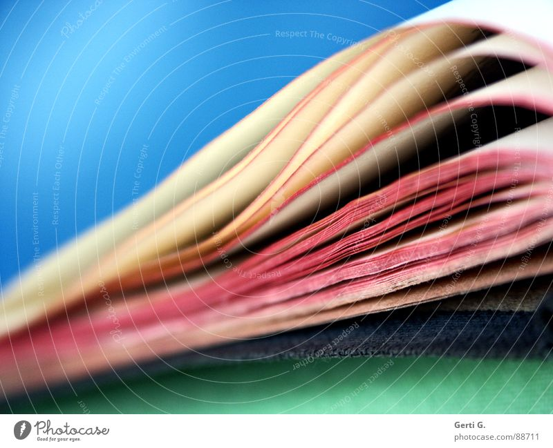 Old Blue Green White Red Together Bright Pink Open Book Closed Reading Education Depth of field Side Ancient