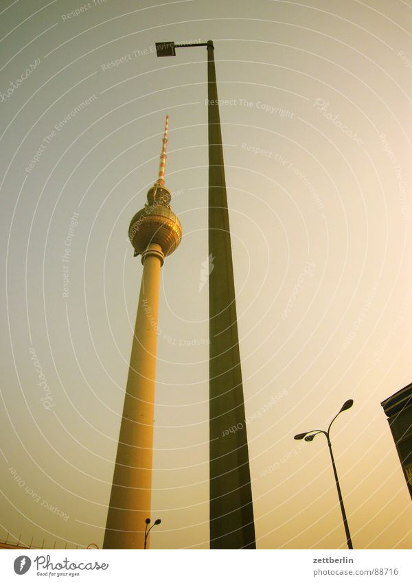 Lamp Berlin Lighting Perspective Communicate Middle Lantern Monument GDR Landmark Go up Berlin TV Tower Steep Alexanderplatz