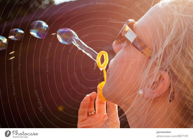 Bubbles in the wind Vacation & Travel Summer Summer vacation Sun Human being Feminine Woman Adults Partner Life Head 1 18 - 30 years Youth (Young adults) Joy