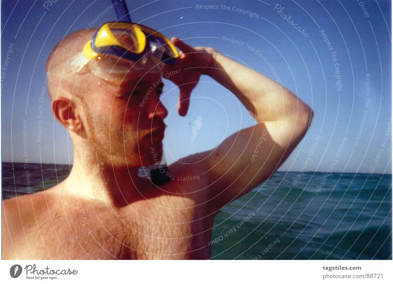 Yes, sir! Snorkeling Diving equipment Egypt Hurgahada El Gouna Diving goggles Ocean Salute Ahoy Hairy chest Beach Waves Horizon Absurdity Man Red Sea Sun Joy