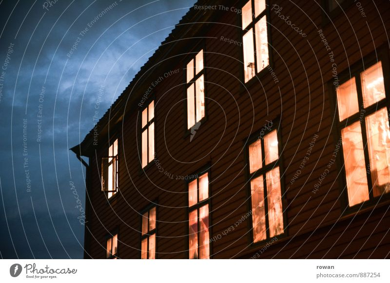 House (Residential Structure) Dark Window Warmth Flat (apartment) Living or residing Illuminate Protection Safety (feeling of) Detached house Wooden house Homey