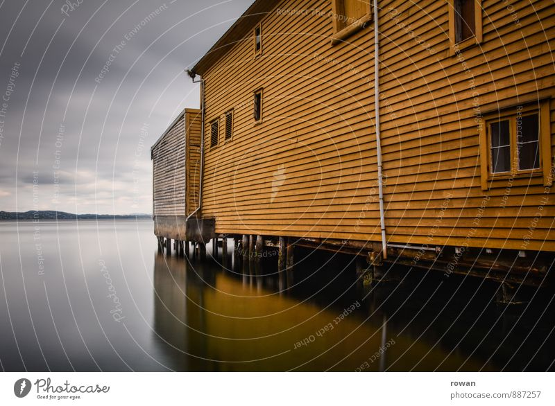 yellow Ocean Lake House (Residential Structure) Manmade structures Building Architecture Facade Window Calm Wooden house Norway Reflection Boathouse Harbour