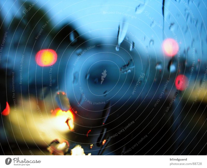 rush hour Light Wet In transit Driving Traffic light Yellow Traffic jam Motor vehicle Closing time Car Rear light Blur Red Transport Frankfurt Rain Window pane