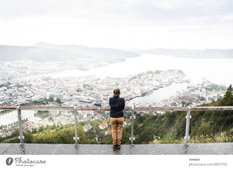 prospect Town Port City Downtown Populated Looking Stand Vantage point Handrail Lean Center point Bergen Norway Height Mountain Platform Overview Review