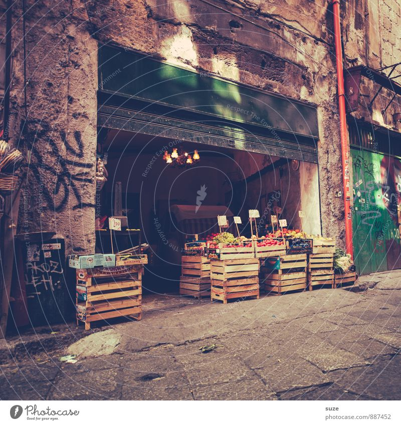 street sale Food Fruit Nutrition Vacation & Travel Tourism City trip Town Old town Gate Building Architecture Facade Authentic Dirty Fresh Historic Gloomy