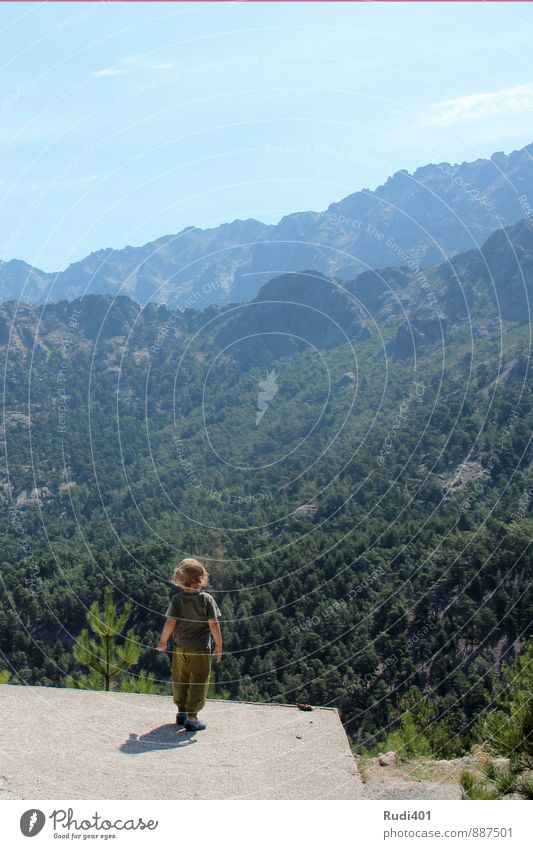 Little man on a great journey Vacation & Travel Trip Adventure Far-off places Freedom Summer Mountain Hiking Masculine Child Toddler Boy (child) 1 Human being