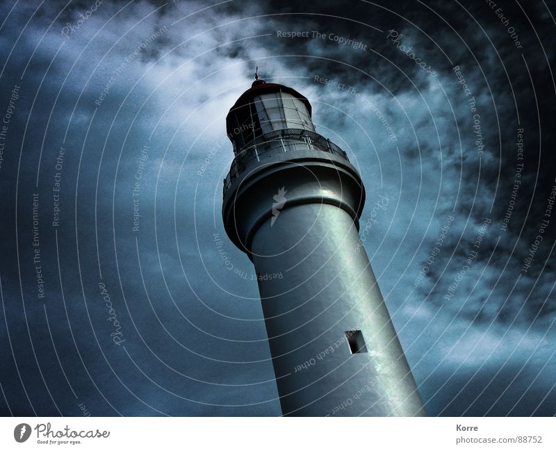 The Tower at the Sea II Colour photo Exterior shot Close-up Experimental Abstract Deserted Copy Space left Night Worm's-eye view Calm Ocean Clouds Moon Lake