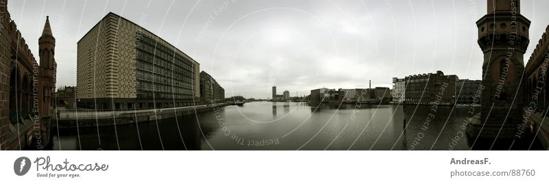Berlin. Oberbaumbrücke. Panorama (View) Spree Brick Historic Ostbahnhof Wide angle Tower Bridge 180 degrees Water River Harbour Coast Large Panorama (Format)