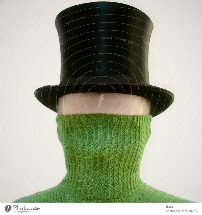 Man Fear Communicate Hat Mysterious Hide Sweater Panic Feeble Forehead Top hat Roll-necked sweater