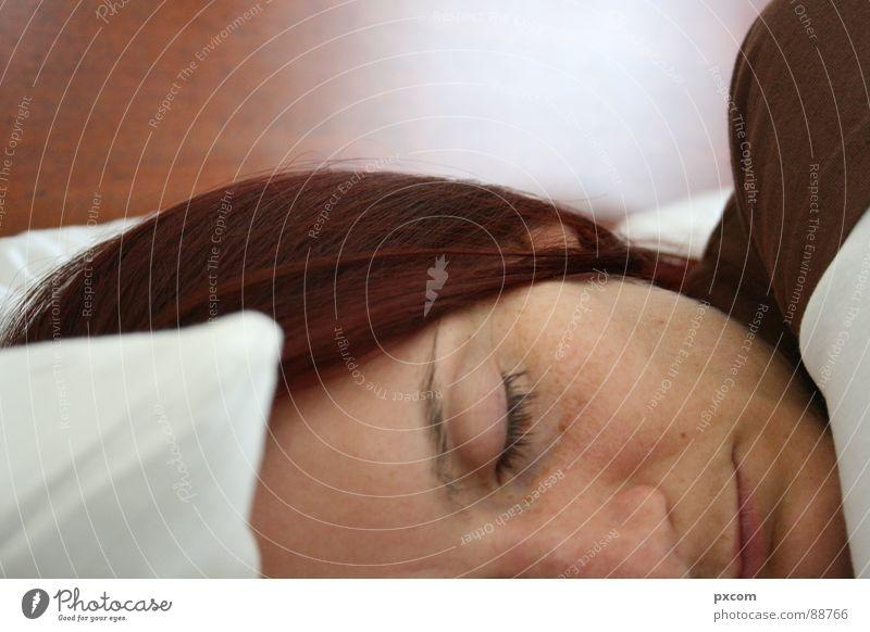 SLP Bed Sleep Good morning Woman Close-up White Brown Hotel Morning Eyes Hair and hairstyles