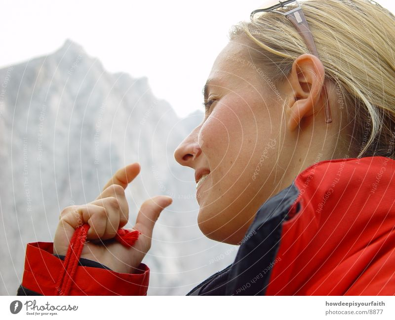 The space between Woman Silhouette Fingers Hiking Gap Hand Profile Mountain