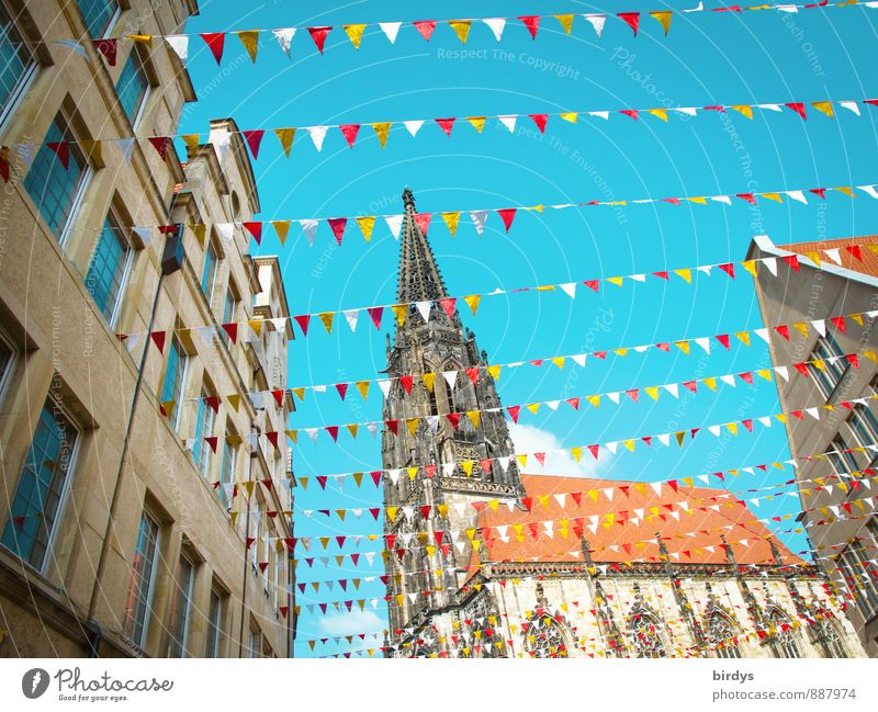Lamberti church in Münster Cloudless sky House (Residential Structure) Church Tourist Attraction Decoration Happiness Positive Beautiful Multicoloured