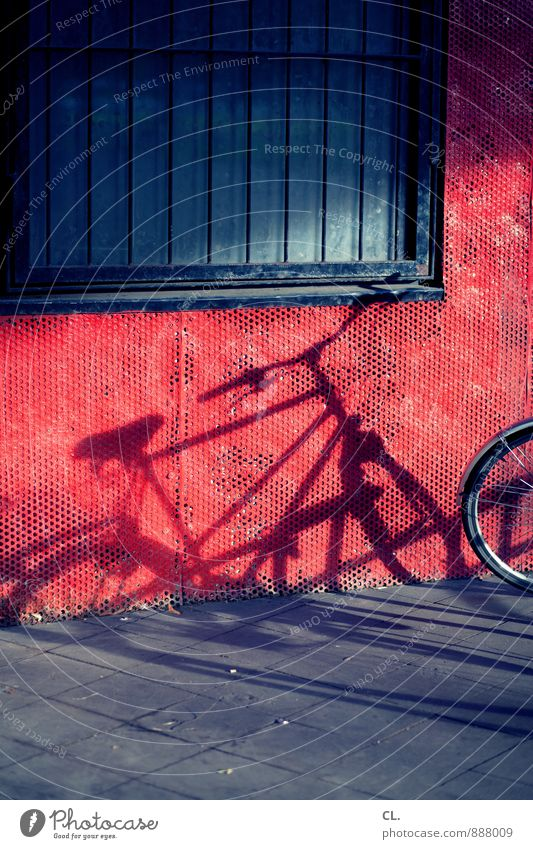 Blue Red Window Wall (building) Street Lanes & trails Wall (barrier) Leisure and hobbies Transport Bicycle Beautiful weather Cycling Grating Parking