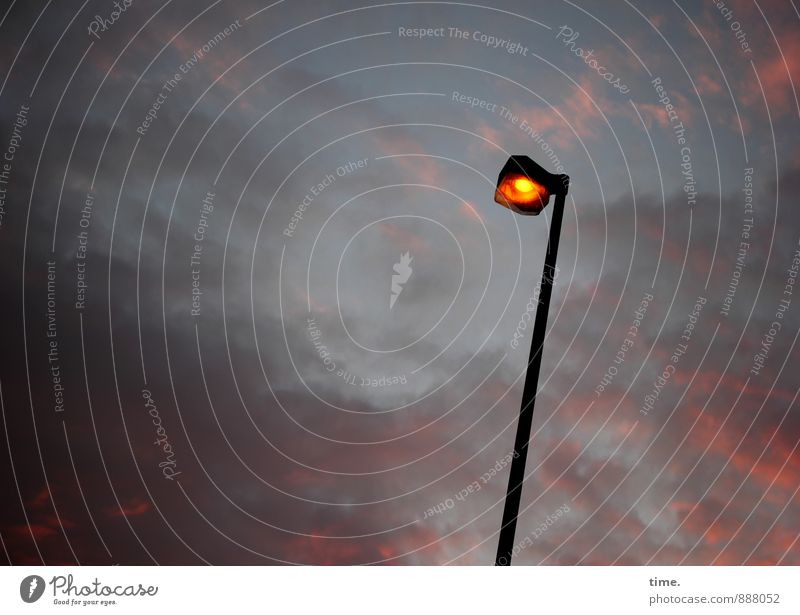Night is falling Technology Energy industry Electricity Lamplight Street lighting Environment Sky Clouds Night sky Beautiful weather Illuminate Stand Esthetic