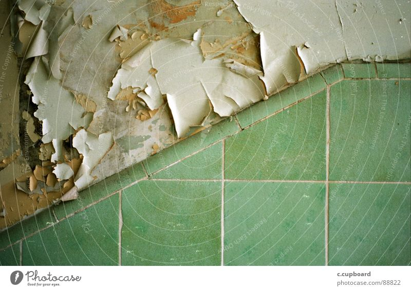Old Green Colour Near Tile Analog Concentrate Decline Division Turquoise Crack & Rip & Tear