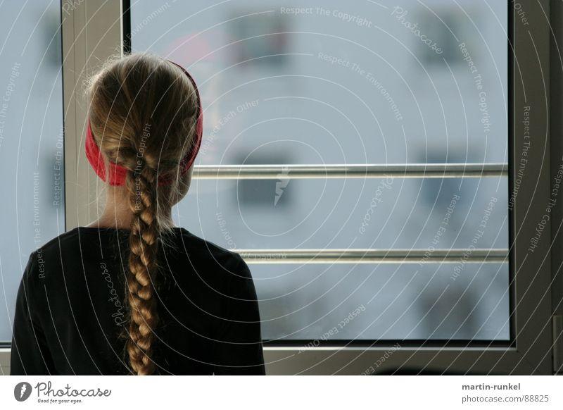 Child Red Girl Black Loneliness Window Emotions Gray Back Braids View from a window Headband Window seat