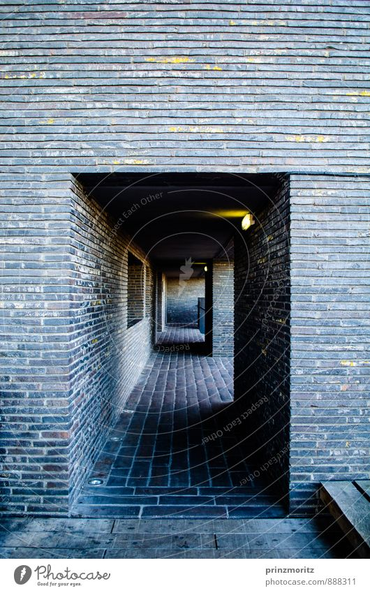 light at the end of the tunnel Deserted Tunnel Building Architecture Wall (barrier) Wall (building) Esthetic Dark Sharp-edged Cold Maritime Modern Town Blue