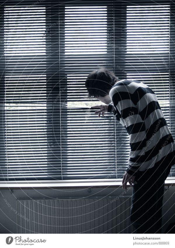 Your Neighbor Stripe Colour Grief Distress Men lonley window black white T-shirt curious room neighbor grey sad broing