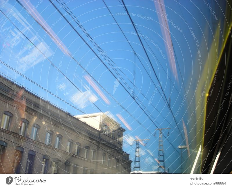Air draft III Railroad Reflection Window Speed House (Residential Structure) Town Electricity Industry Bridge Electricity pylon Sky