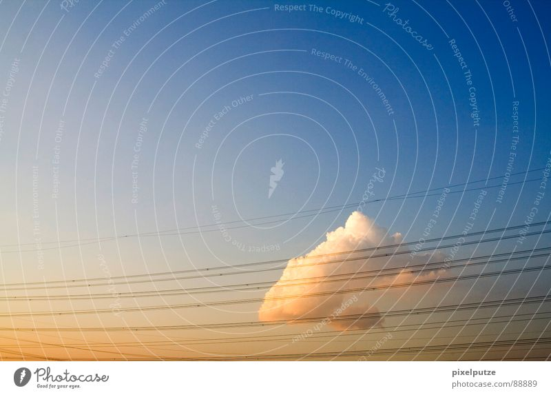 Beautiful Sky Sun Clouds Line Closed Energy industry Electricity Cable Direction Dynamics Symbols and metaphors Beautiful weather Captured Barrier Transmission lines