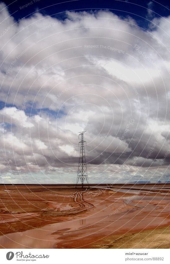 tower Summer Earth Sky Clouds Loneliness Colour Future South America Part Electricity pylon delivered Deserted Day