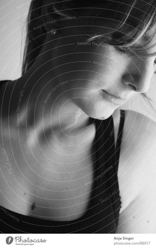 Portrait lateral Portrait photograph Side Interior shot Portrait format Feminine Black & white photo Face Detail Human being