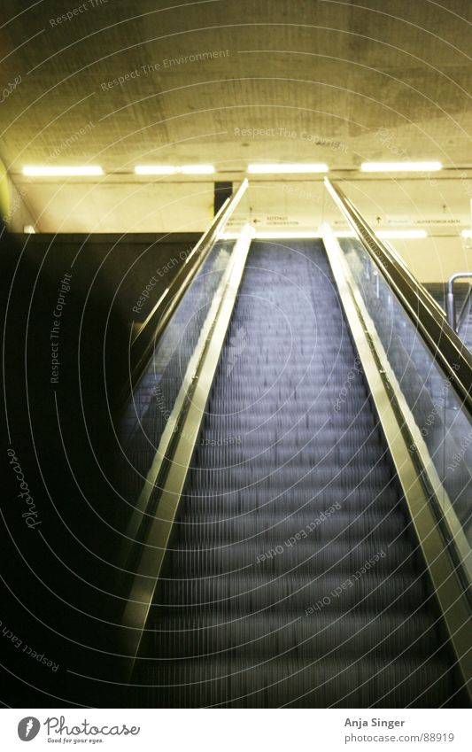 escalator Underground Interior shot Light Dark Train station Shadow Stairs Bright Subway station