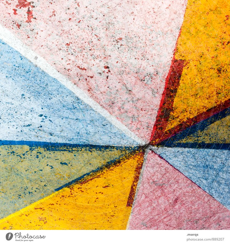 blurring Style Concrete Line Old Dirty Trashy Blue Multicoloured Yellow Green Red Colour Decline Background picture Colour photo Exterior shot Close-up Abstract