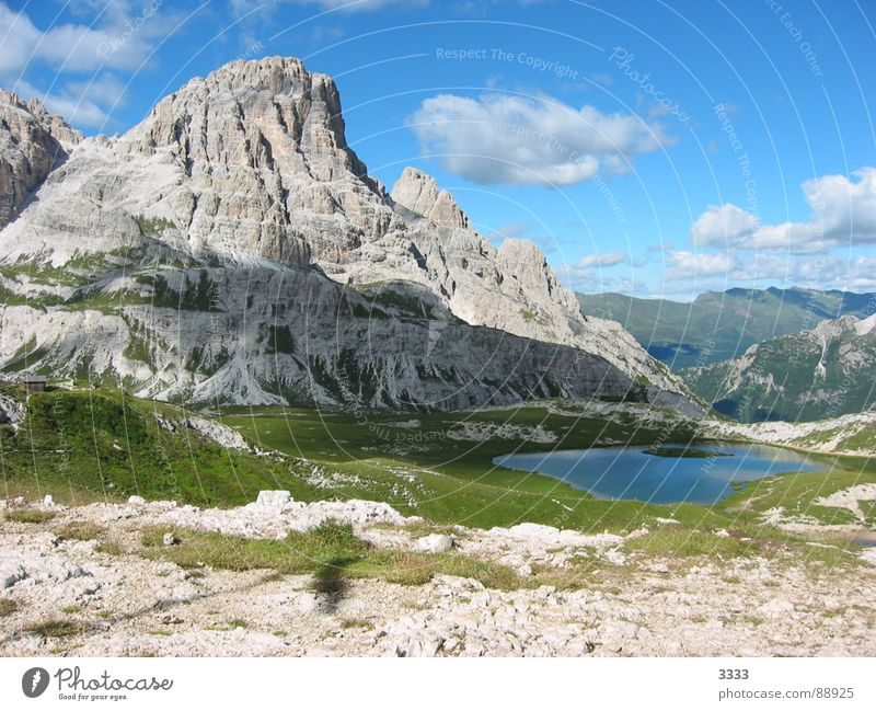 Mountain with lake South Tyrol Mountain lake Clouds Panorama (View) Nature Large