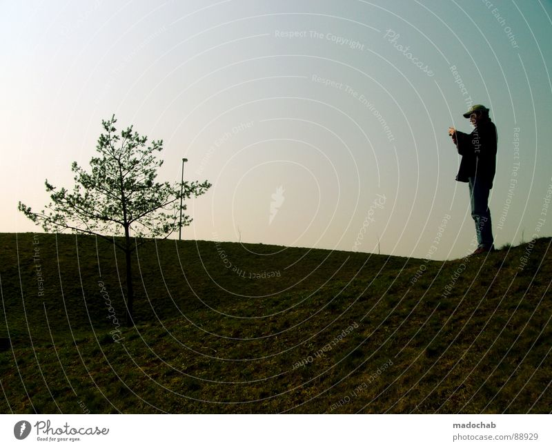 Human being Man Nature Green Tree Vacation & Travel Sun Summer Loneliness Relaxation Meadow Life Mountain Grass Style Park