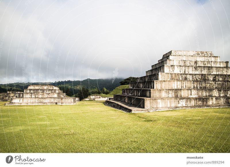 Old Clouds Grass surface Ruin Pyramid Maya Guatemala Temple ruins Zaculeu Huehuetenango